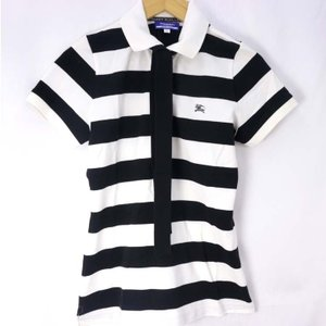 バーバリーブルーレーベル 半袖ポロシャツ レディース ボーダー ブラック×ホワイト サイズ38 BU...