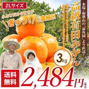 【送料無料】農家直送★前角園の高級有田みかん 2Lサイズ(蜜柑)3kg ギフト用(お歳暮)に有田みかん【平均糖度12度以上】