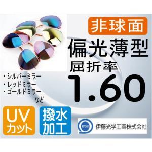 偏光薄型レンズ 非球面1.60 度付き 色選択可能 超撥水加工+UVカット(2枚価格) ミラーコート ポラライズド|melook