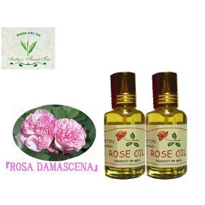 ペコー ティップス ダマスクローズ オイル2本セット オット 100%精油(インド産)PEKOE TIPS TEA  ESSENTIAL OIL ROSA DAMASCENA(Damask rose) 12ml|meltinpot
