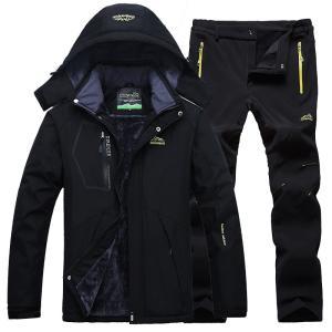 2点セット スキーウェア メンズ 上下セット スノーボードウェア暖 フード付きマウンテンジャケット ...