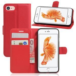 iPhone8 ケース iPhone7 ケース レッド アイフォン8 アイフォン7 手帳 財布 スマホケース 保護フィルム付き|memon-leather