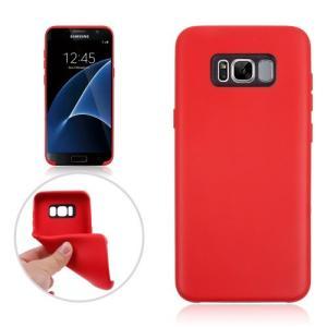 Galaxy S8 Plus ソフトケース レッド 液晶保護フィルム付き ギャラクシーS8 プラス 背面型耐衝撃 超薄軽量型|memon-leather