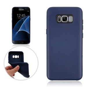 Galaxy S8 Plus ソフトケース ダークブルー 液晶保護フィルム付き ギャラクシーS8 プラス 背面型耐衝撃 超薄軽量型|memon-leather