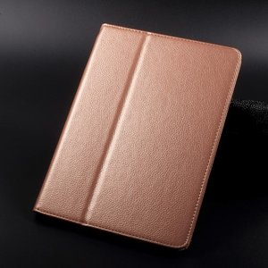 iPad 2017 レザーケース ローズゴールド 液晶保護フィルム付き アイパッド2017 カバー 手帳型スタンド機能|memon-leather
