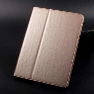 iPad 2017 レザーケース ゴールド 液晶保護フィルム付き アイパッド2017 カバー 手帳型スタンド機能|memon-leather