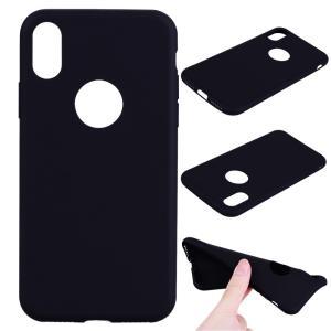 iPhone XS/X ケース ソフトケース ブラック 強化ガラス保護フィルム付き アイフォン X 背面型 超薄軽量|memon-leather