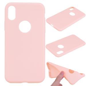 iPhone XS/X ケース ソフトケース ピンク 強化ガラス保護フィルム付き アイフォン X 背面型 超薄軽量|memon-leather