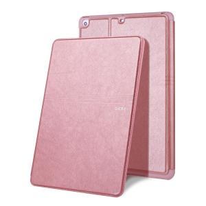 iPad 2017 レザーケース ローズゴールド 液晶保護フィルム付き アイパッド2017 カバー 手帳型 スタンド機能 ICカードスロット|memon-leather