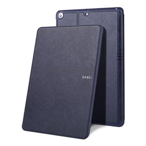 iPad 2017 レザーケース ダークブルー 液晶保護フィルム付き アイパッド2017 カバー 手帳型 スタンド機能 ICカードスロット|memon-leather