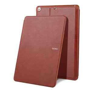 iPad 2017 レザーケース ブラウン 液晶保護フィルム付き アイパッド2017 カバー 手帳型 スタンド機能 ICカードスロット|memon-leather