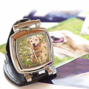置き時計 写真で作るオリジナルウォッチ スタンド時計スクエア型 写真印刷 ペットメモリアルグッズ 名入れ バレンタインデー プレゼント ギフト
