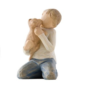 メモリアルオブジェ Kindness Boy 〜やさしさ〜 犬を抱いた男性 willowtree memoriaareca