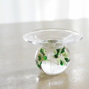 ガラスのお香たて 水中花 (グリーン)職人が一つひとつ吹きガラスで仕上げた逸品|memoriaareca