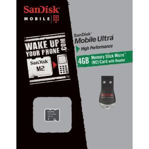 メール便可 SanDisk メモリースティックマイクロ M2 4GB Mobile Ultra MagicGate対応 カードリーダー付属 サンディスク SDMSM2Y-4096-E11M
