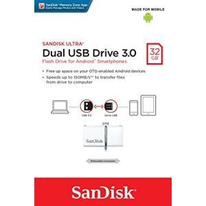 送料無料 SanDisk ウルトラデュアル 32GB USB ドライブ 3.0 130MB/s サンディスク SDDD2-032G-G46W ホワイト 海外パッケージ品