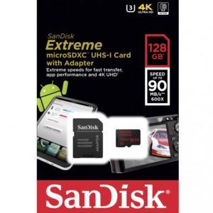 メール便可 SanDisk microSDXC 128GB Extreme R:90MB/s W:60MB/s V30 UHS-I U3 4K対応 SDSQXVF-128G サンディスク 海外パッケージ品