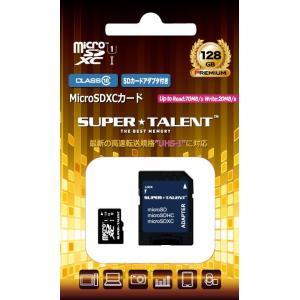 可 Super Talent microSDXC 128GB クラス10 70MB s UHS-I対応 SD変換アダプター付属 ST28MSU1P スーパータレント 国内パッケージ品の商品画像