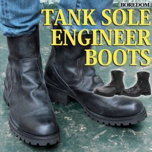 ブーツ バックジップ エンジニアブーツ タンクソール スウェード つぶし加工 メンズ 靴 シューズ ブーツ|mens-sanei