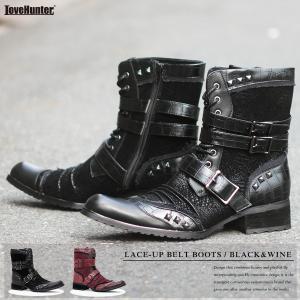 お兄系 レースアップ ベルト ブーツ スタッズ ポインテッド メンズ 靴 ブラック ワイン BLACK WINE ラブハンター|mens-sanei