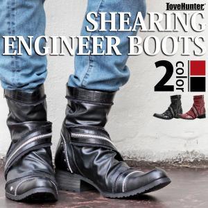 メンズ ブーツ サイドジップ シャーリングブーツ メンズ 靴 シューズ お兄系 ホスト メンナク ジップ|mens-sanei