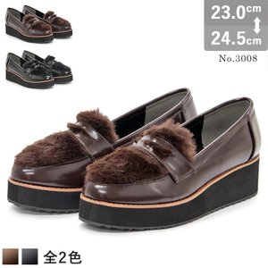 ローファー レディース おじ靴 フェイクファー 厚底 4cmヒール マニッシュシューズ 靴|mens-sanei