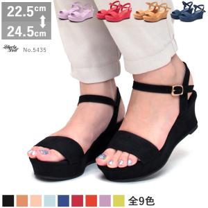 ウエッジ サンダル スエード 太ヒール レディース 婦人 靴 シューズ ヒール 対象商品2足の購入で4000円(税別)|mens-sanei