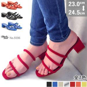 バックレスサンダル ミュール 3連ストラップ 4.5cmヒール 疲れない 歩きやすい 対象商品2足の購入で4000円(税別)|mens-sanei