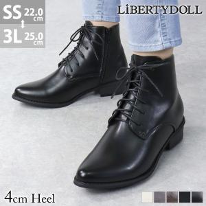 ショートブーツ レディース レースアップ 履きやすい サイドジップ 3cmヒール 袴 卒業式 対象商品2足の購入で4000円(税別)|mens-sanei