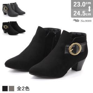 ショートブーツ サイドジップ レディース ブーティ 履きやすい 5cmヒール アンクル丈|mens-sanei