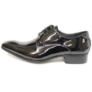 ビジネスシューズ 日本製 本革 スワールモカシン エナメル BLACK ENAMEL サラバンド メンズ 革靴 紳士 靴|mens-sanei