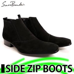サラバンド サイドジップ ブーツ BLACK SUEDE mens-sanei