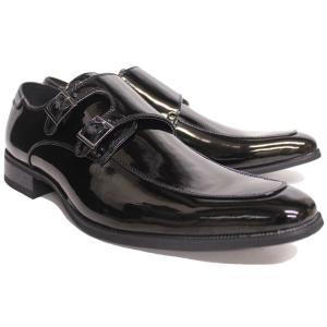 ビジネスシューズ ロングノーズ ダブルモンク ブラック エナメル BLACK ENAMEL ラスアンドフリス メンズ 革靴 紳士 靴 2足6000円セット対象商品|mens-sanei