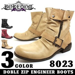 ボアダム 折り返し ドレープ エンジニア ブーツ  3色展開 メンズ 靴 スウェード カジュアル シューズ レザー お兄系|mens-sanei