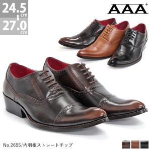 ビジネスシューズ ロングノーズ ストレートチップ 内羽根 メンズ 靴 シューズ 対象商品 2足の購入で4500円(税別)|mens-sanei