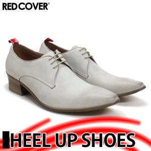 ヒールアップ カジュアルシューズ 本革 レッドカバー メンズ 革靴 短靴 紳士 靴 9905 WHITE|mens-sanei
