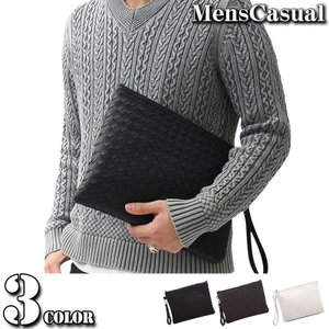 クラッチバッグ メンズ セカンドバッグ 2WAY メンズクラッチバッグ 編みこみ メッシュ 編み込み バッグ カバン かばん 鞄 小物|menscasual