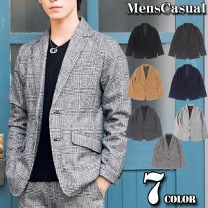テーラードジャケット メンズ メルトンウール 無地 柄 グレンチェック  ツイード 秋冬 グレー 黒 ブラック|menscasual