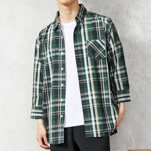 チェックシャツ メンズ シャツ 七分袖 7分袖 ボタンダウン カジュアルシャツ マドラスチェック柄 オンブレーチェック 半袖 夏|menscasual