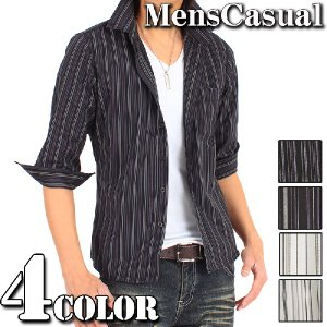 1000円ポッキリ シャツ メンズ ストライプシャツ 七分袖 7分袖 ボタンダウンシャツ ドレスシャツ|menscasual