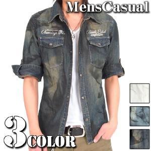 デニムシャツ メンズ 7分袖 半袖 ロールアップ|menscasual