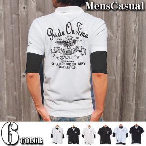 ポロシャツ メンズ 半袖ポロシャツ 鹿の子ポロシャツ 無地 刺繍 2点セット レイヤード トップス メンズファッション|menscasual