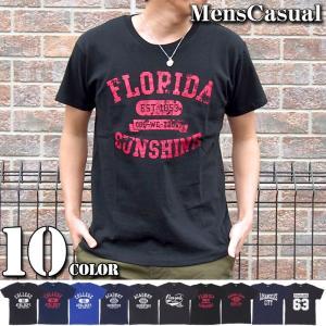 Tシャツ メンズ アメカジTシャツ 半袖 プリントTシャツ ロゴT カレッジプリント カットソー