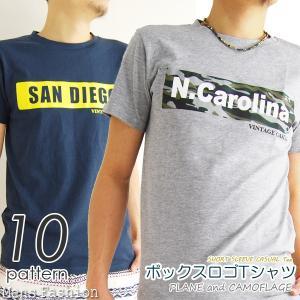 Tシャツ ボックスロゴ プリント 半袖 メンズTシャツ アメカジ S M L LL|mensfashion