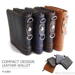 風合いの牛本革レザーに、立体感のあるラインデザインを施したコンチョ付本革二つ折り財布は、内側にも本革...