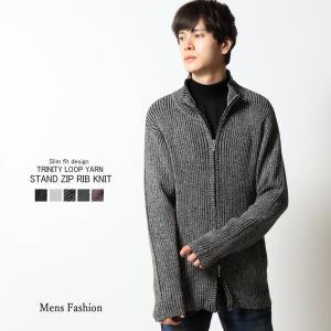 872ae17e45d13 リブ編みニット メンズ ジャケット スタンド ジップアップ トップス インナー|mensfashion ...