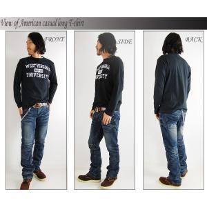 ロングTシャツ メンズ ロンT カレッジロゴ アメカジ 長袖 トップス インナー|mensfashion|03