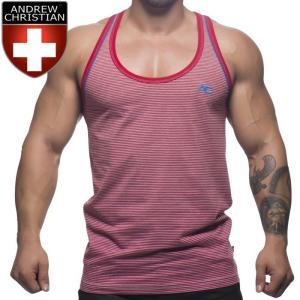 Andrew Christian アンドリュークリスチャン タンクトップ メンズ スポーツ ジムウェア Campus Stripe Tankタンクトップ(ac2689)|mensrunway