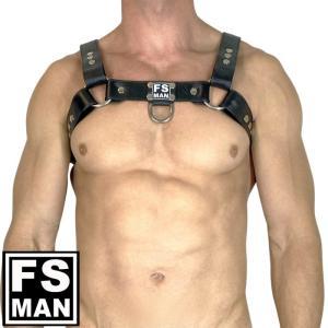 男性用イタリア本革ハーネス メンズ  レザー ボンテージ コスプレ ステージ パーティ Gogo 衣装 FS Man エフエスマン ハーネスBulldog Black(fs-h003)|mensrunway