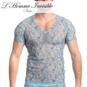 男性用 メンズTシャツ フランス高級下着 ルームウェア メンズ インナー L'Homme Invisible Icy Tropics レース メッシュ Tシャツ(my73-icy-021)|mensrunway